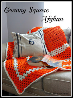 Vintage, Paint and more... stenciled number pillow with flour sack stripes done on drop cloth fabric along with a crochet granny square afghan