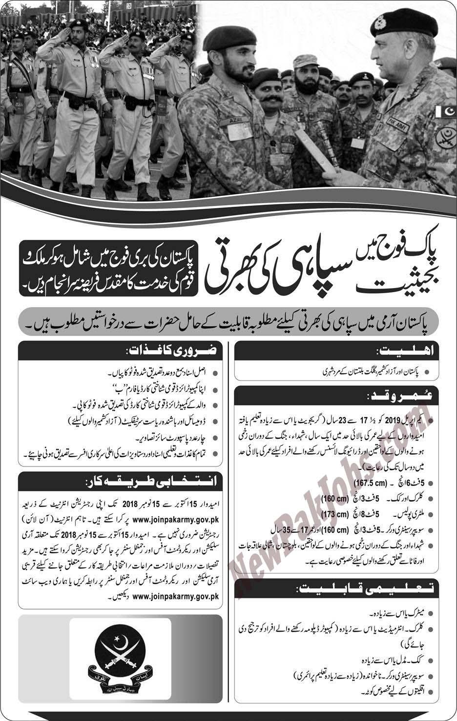Pakistan Army Jobs October 2018 as Sipahi
