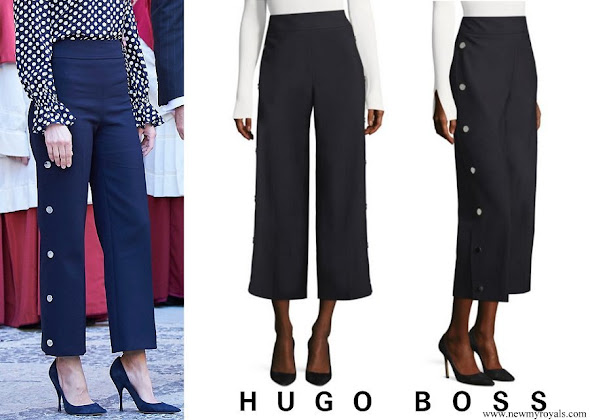Queen Letizia wore BOSS High-Waist Wide-Leg Pants