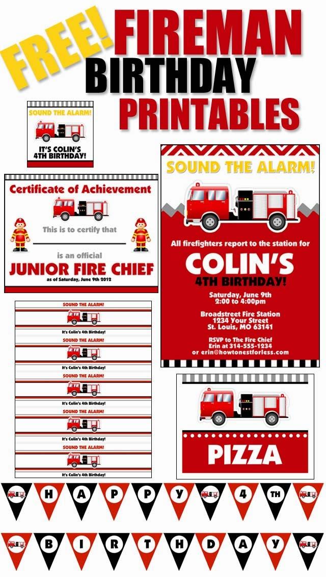 Fireman Party Free Printable Kit