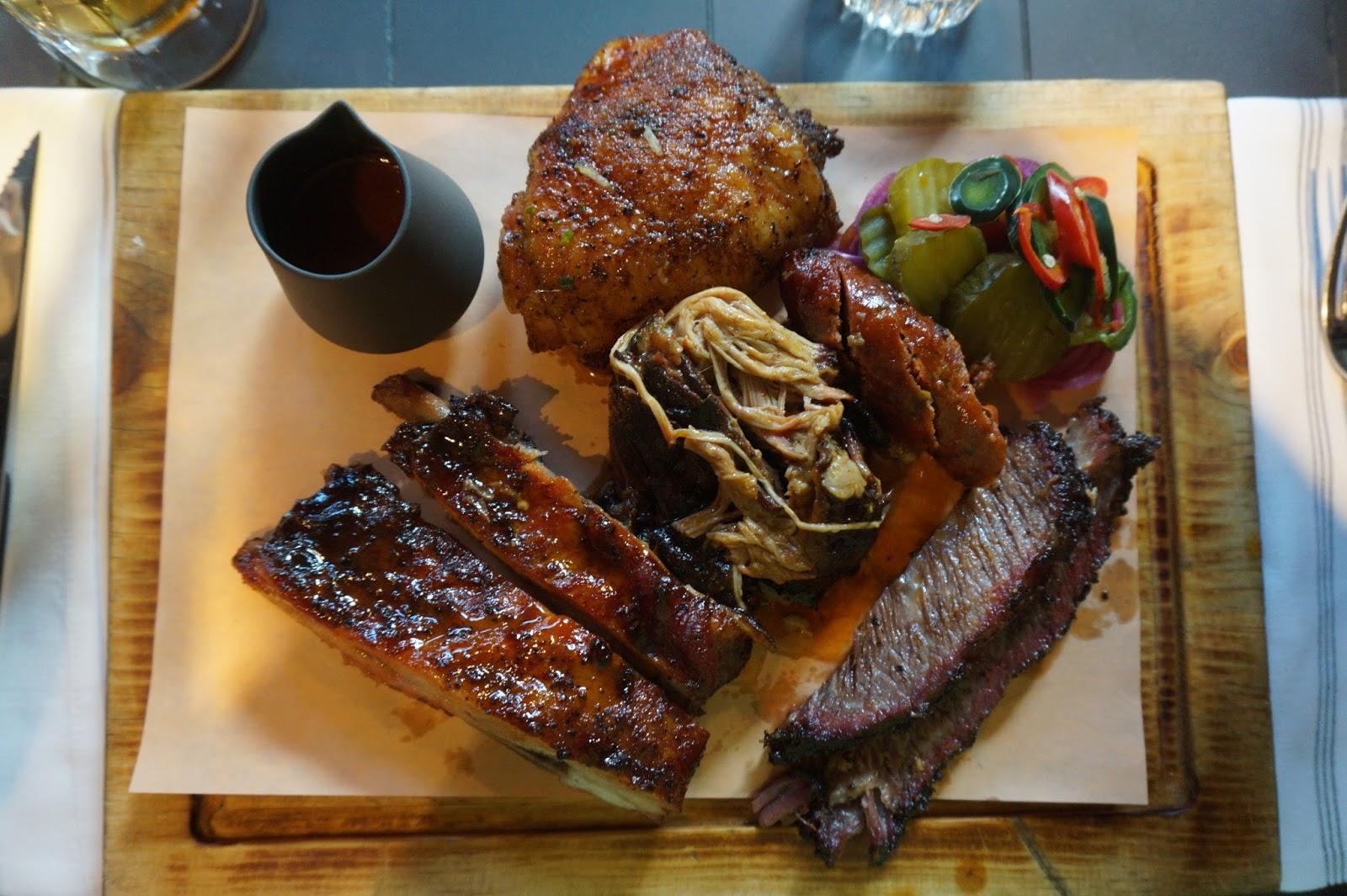 Platter of BBQ meats