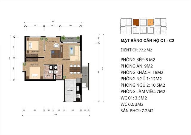 diện tích căn hộ chung cư Samsora Hà Đông