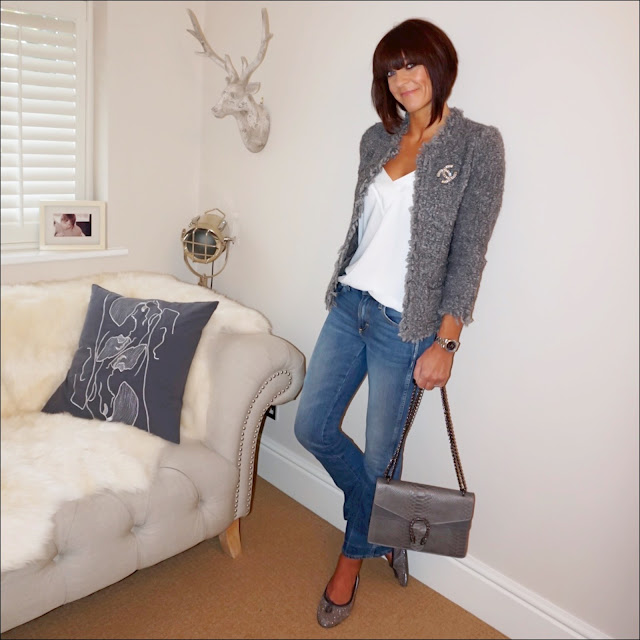 my midlife fashion, iro knitted jacket, vintage chanel brooch, mango strapy flowy cami, j crew iro jane jeans, glittery ballet pumps, snake skin leather bag