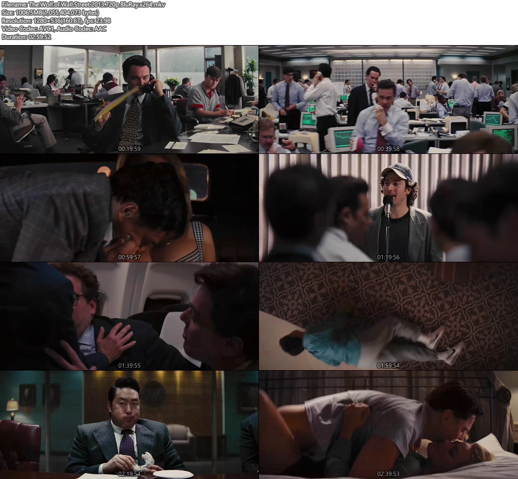 The Wolf of Wall Street 2013 720p BluRay x264 | 480p 300MB | 100MB HEVC Screenshot