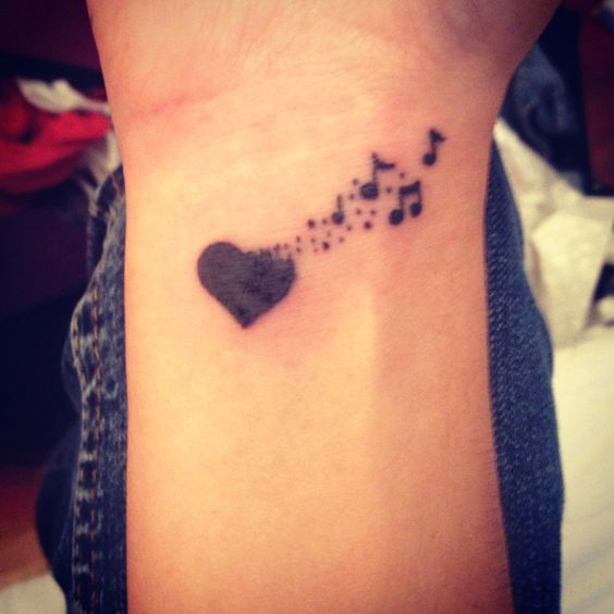 Heart Music Tattoo on Wrist For Girls