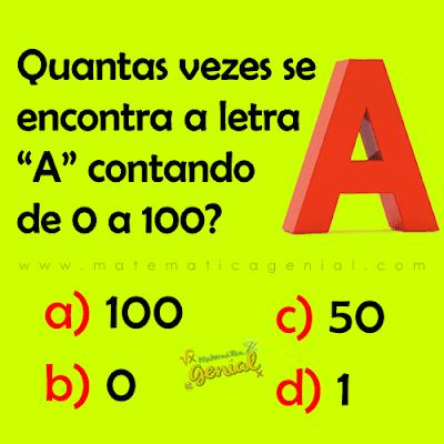 """Desafio: Quantas vezes se encontra a letra """"A"""" contando de 0 a 100?"""