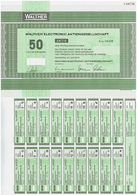 Bearer share (Inhaber) from the Walther Electronic Aktiengesellschaft, Germany