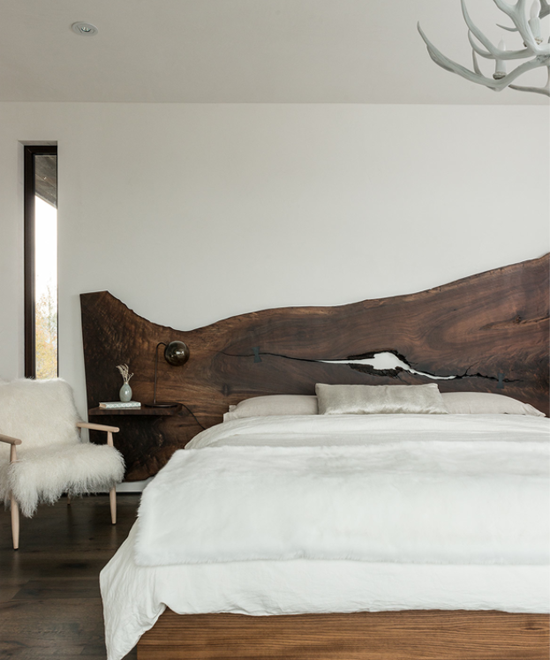 Wood slab headboard | Design by Pearson Design Group.