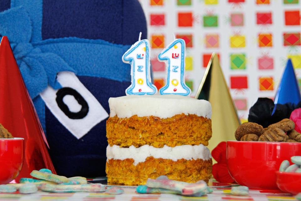 Dalmatian DIY RECIPE Layered Pumpkin and Beef Dog Birthday Cake