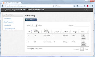 Contoh Projek Sederhana CodeIgniter 3 CRUD & Cetak Laporan