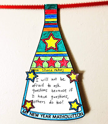 My New Year Matholution! Math Pennant to set new year's resolutions in math class
