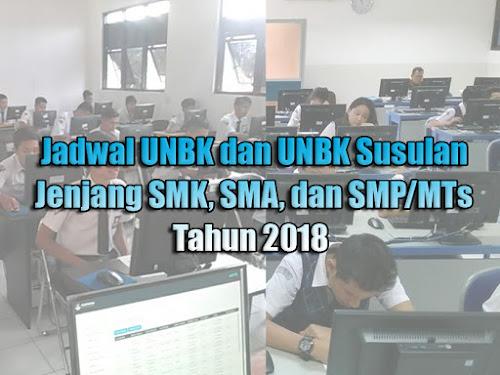Jadwal UNBK SMK SMA dan SMP 2018