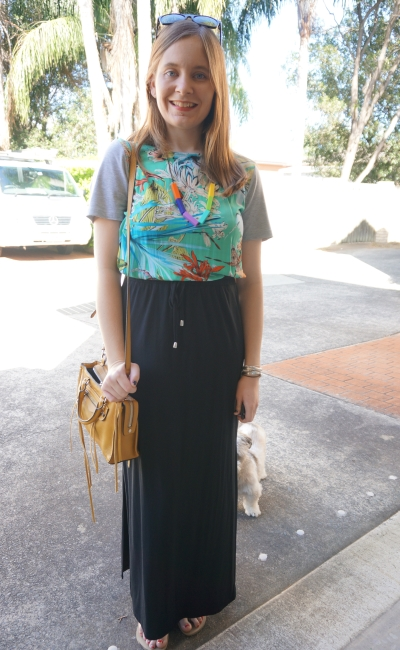 maxi skirt in autumn with printed tee dress worn as top layered under | AwayFromBlue