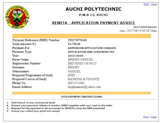 Auchi Remita Payment Code Generation