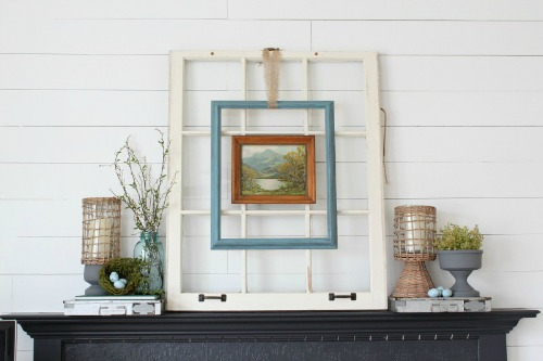 Easy Upcycled Spring Mantle by Reinvented