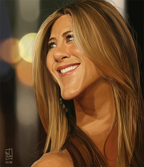 """Caricatura de """"Jennifer Aniston"""" por Alberto russo"""