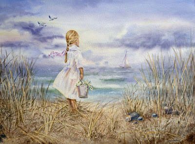 seascape with girl on the beach watercolour artwork