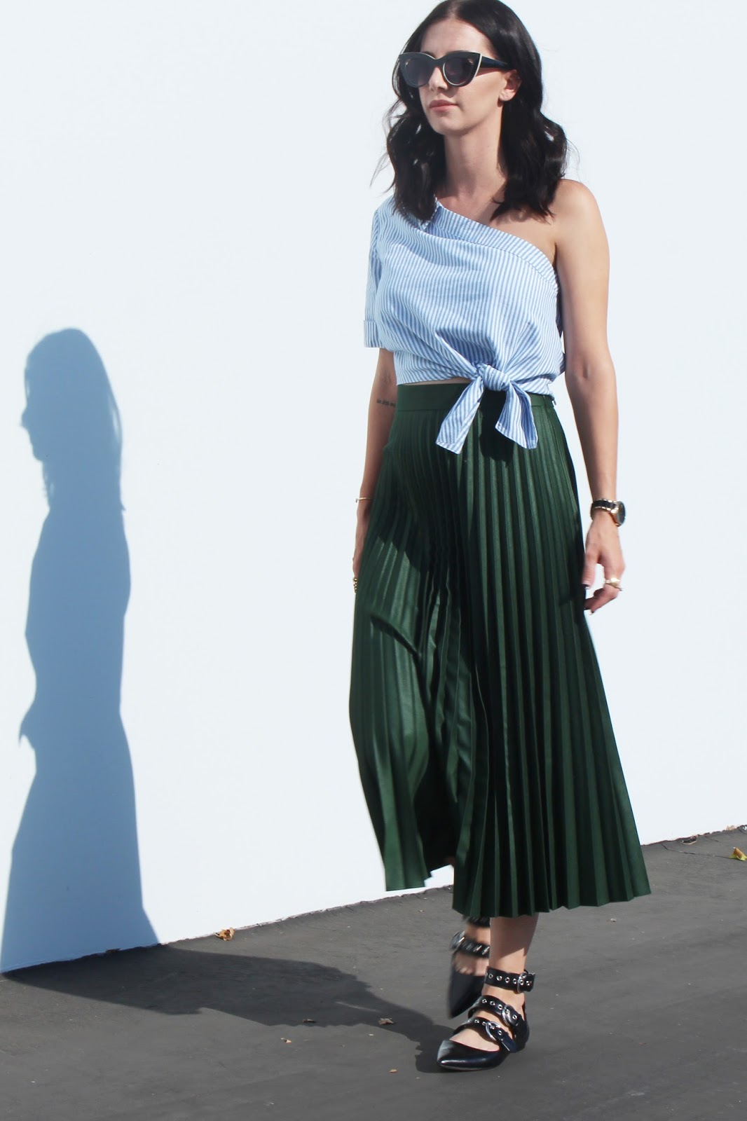 pleated midi skirt, ballet flats, off shoulder top