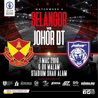 Live Streaming Selangor vs JDT Liga Super 1.3.2019