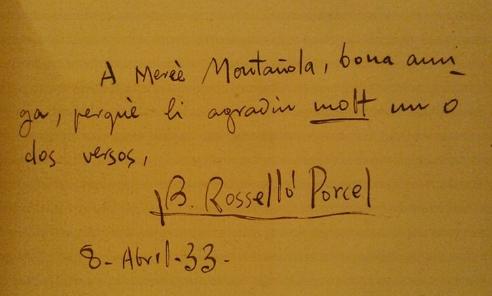Bartomeu Rosselló-Pòrcel - signatura