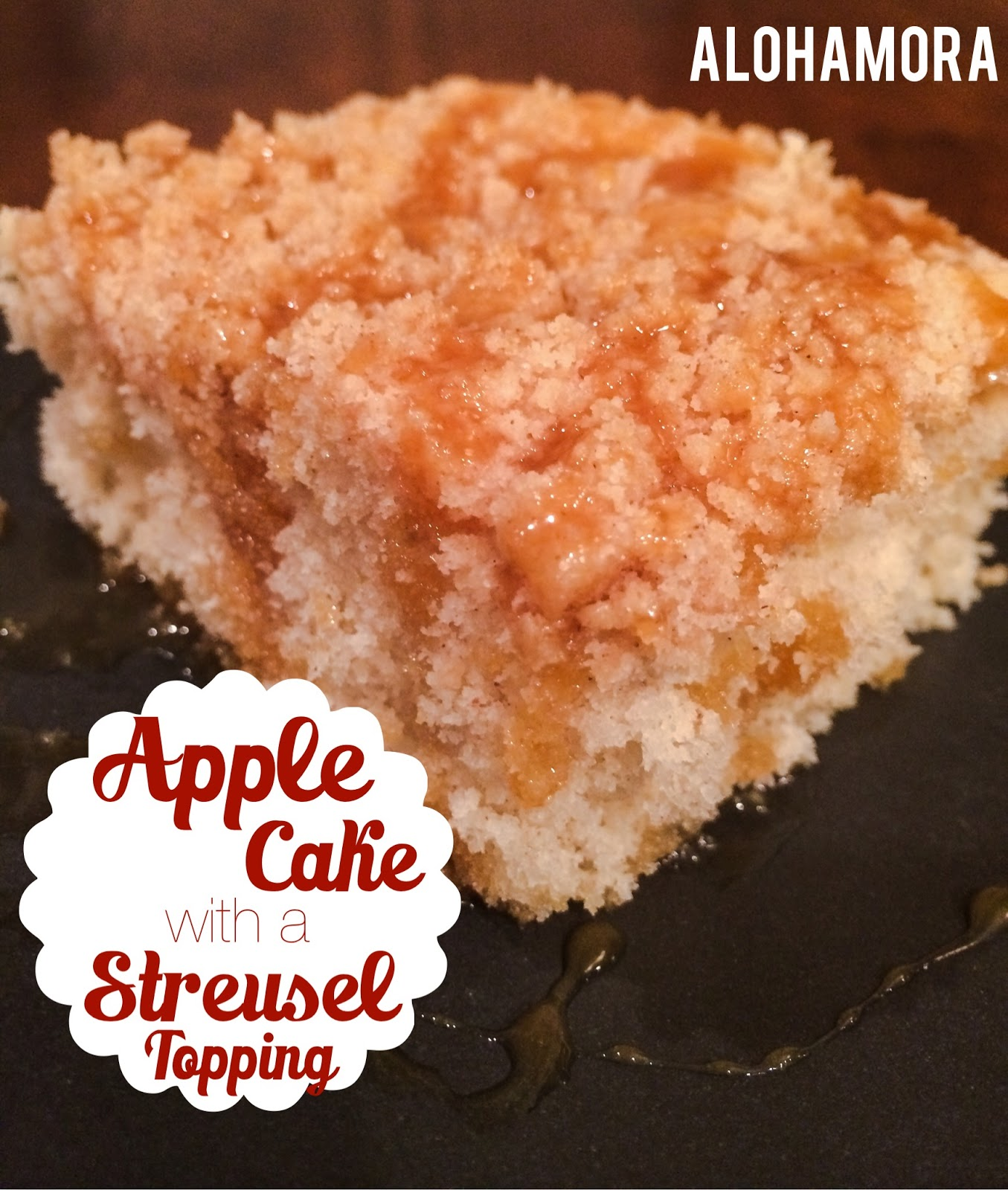 Apple Cake with a Streusel Topping is the perfect treat this time of year (Fall/Autumn).  This recipe and cake make a light and sweet with the perfect amount of apple.  This cake is easy to make, and it is from scratch.  Enjoy with caramel sauce or ice cream for a truly amazing dessert. Alohamora Open a Book http://www.alohamoraopenabook.blogspot.com/