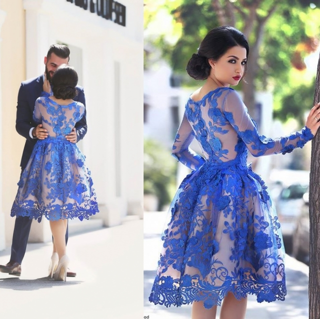 A Glimpse of Glam - Babyonlinedress Blue Lace Midi Dress