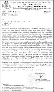 Surat Edaran tentang Sertifikasi Guru