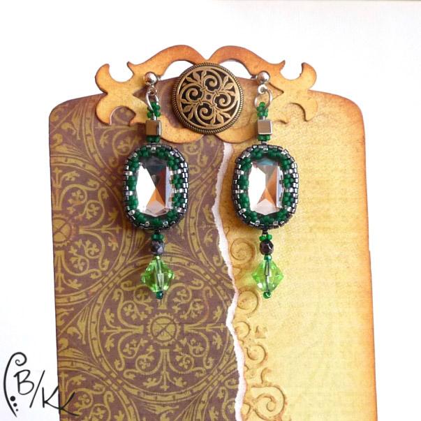 szaro-zielone beadingowe kolczyki peyote z kryształkami | green&grey peyote earrings
