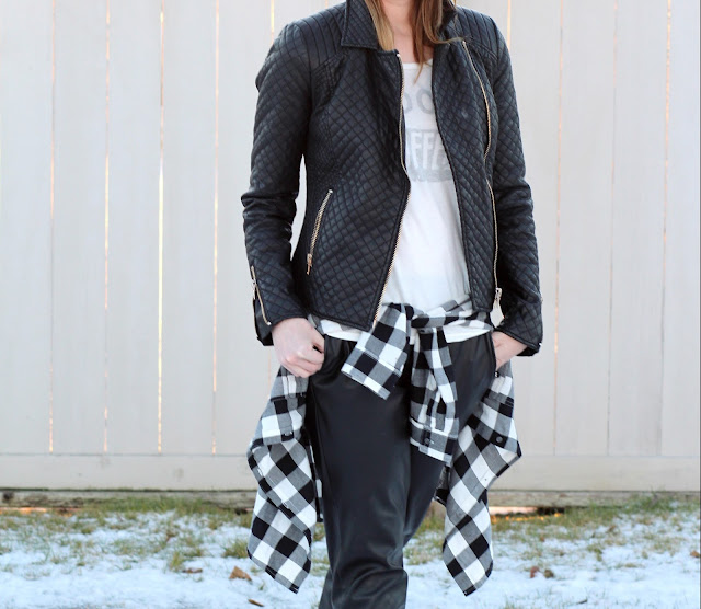 Quilted Leather Jacket Zara, Shopbop tee, faux leather pants Forever 21