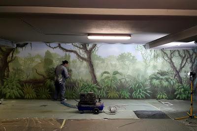 Malowanie na ścianie obrazu, malowanie dżungli, grafitti ścienne, Warszawa