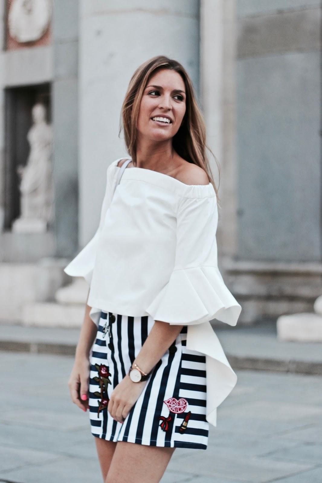 falda de rayas con parches