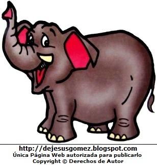 Dibujo de un elefante caminando para niños, elefante de Jesus Gómez.