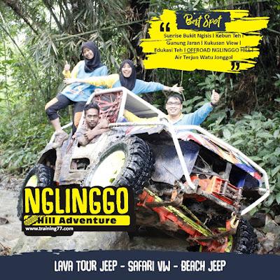 Salah satu atraksi jeep offroad Nglinggo
