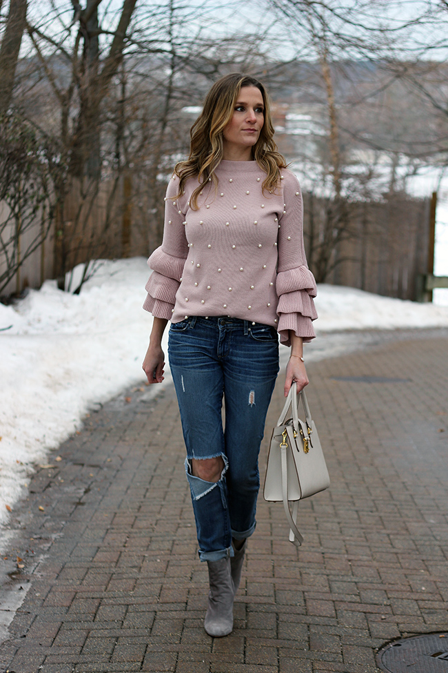 Sweater With Pearls #sweater #springoutfits