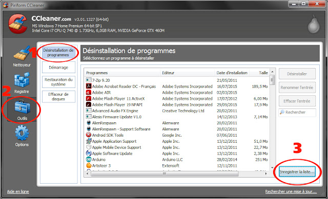الحل الأول هو جمع قائمة البرامج عن طريق برنامج سي كلنر ccleaner .