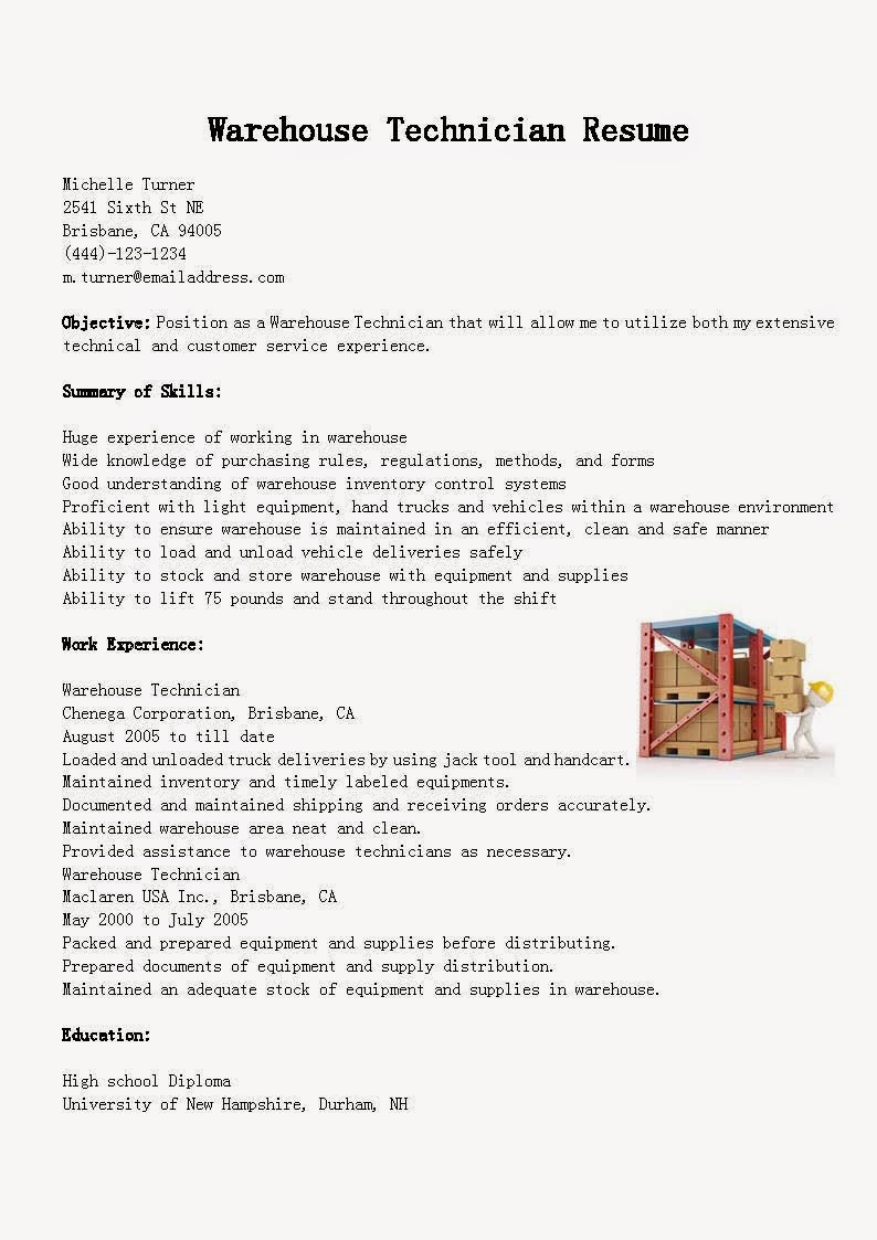 resume samples  warehouse technician resume sample