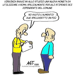 Virginia Raggi, M5S, programma politico, Roma, vignetta, satira