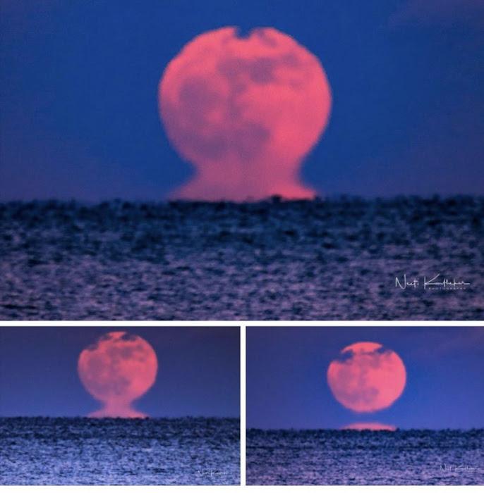 Quá trình Mặt Trăng mọc lên biển ở Belmar, New Jersey tạo nên hiệu ứng quang học rất thú vị. Các lớp không khí nằm gần chân trời có nhiệt độ khác so với những lớp không khí ở cao hơn, gây nên ảo giác ấn tượng khi Mặt Trăng vừa mọc lên từ chân trời. Hình ảnh: Neeti Kumthekar.