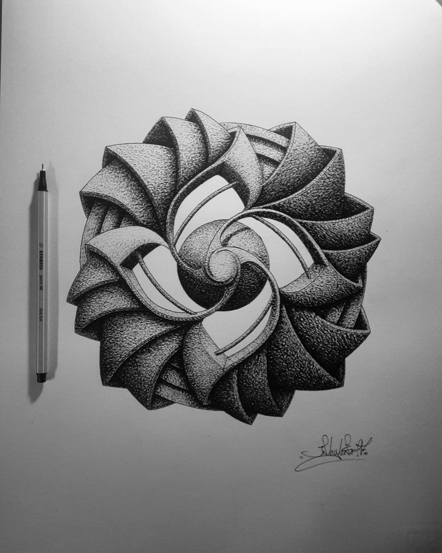 12-in-my-mind-art-Complex-Geometric-shapes-in-Ink-Stippling-Drawings-www-designstack-co