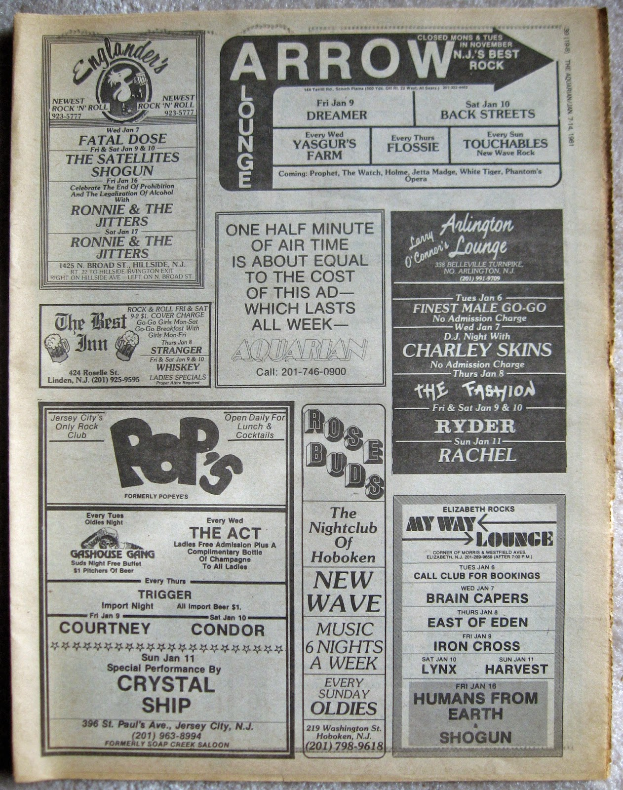 Englander's - Arrow Lounge - The Best Inn - Pop's - Rose Buds - Arlington Lounge - My Way Lounge band line ups January 1981