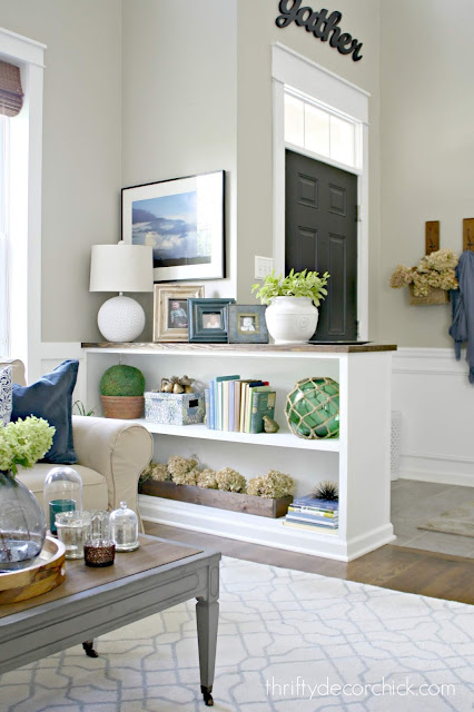 DIY bookcase half wall