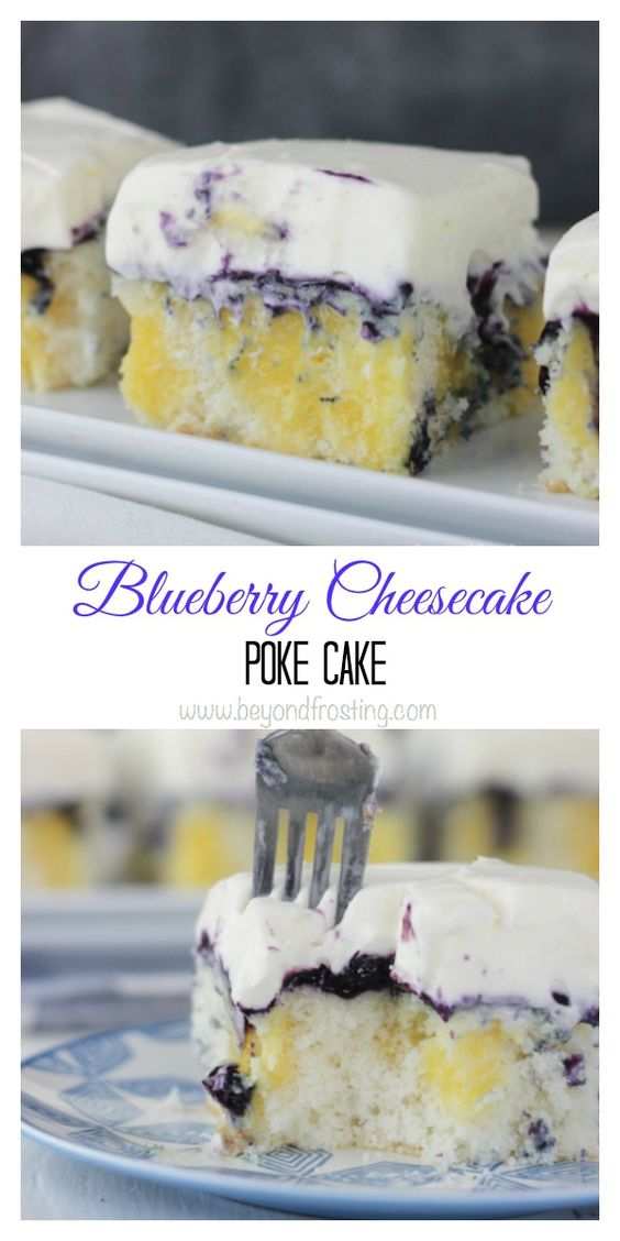 Blueberry Cheesecake Poke Cake