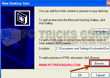 How to use marquee text on desktop in XP