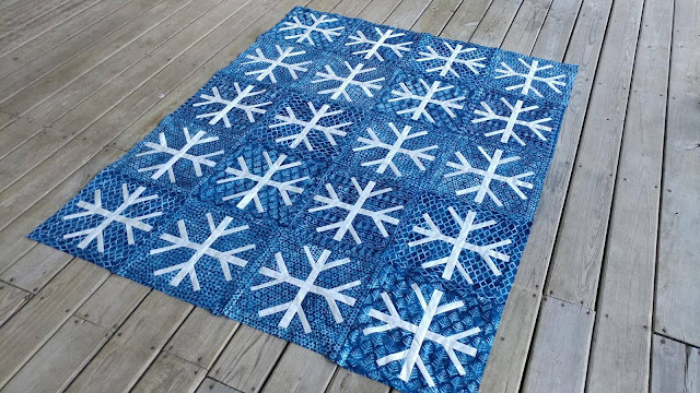 Snowfall quilt by Slice of Pi Quilts using Island Batik Alpine Ice fabrics