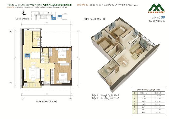 Thiết kế căn hộ 09 - dt 76m Xuân Mai Riverside