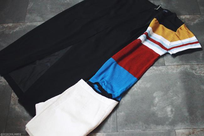 ファッションブロガー日本人、2016年7月購入品、CHOIESマルチカラーニットトップス、ラップスカート、ホワイトショートパンツ