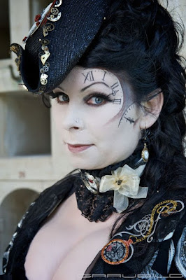 Diy tutorial on how to draw a steampunk clock with hands on your face. special fx steampunk makeup for costumes or cosplay.