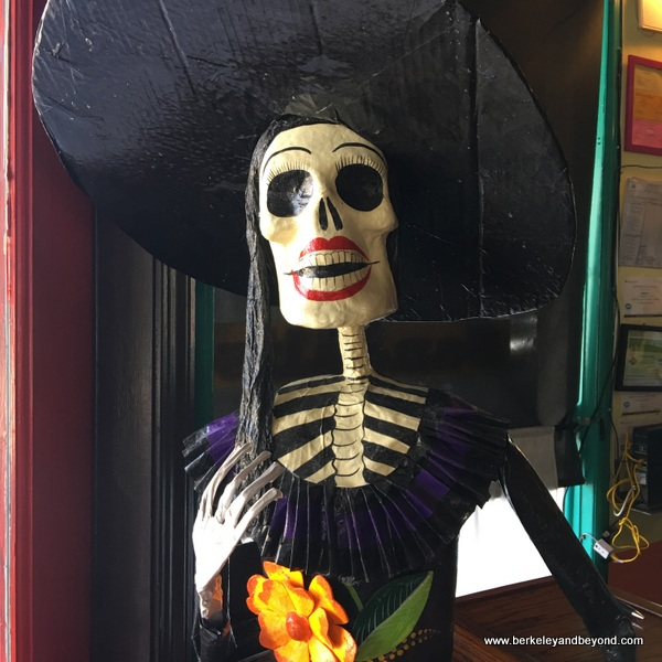 skeleton lady decor at San Jalisco in San Francisco's Mission District