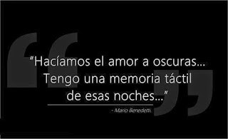 """""""Hacíamos el amor a oscuras... Tengo una memoria táctil de esas noches."""" Mario Benedetti"""
