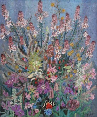 Flowers and Butterflies. Flores y Mariposas. Cedric Morris